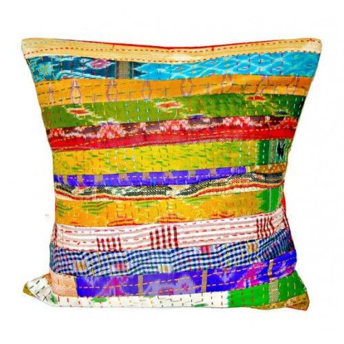 Silk Kantha Decorative Pillow