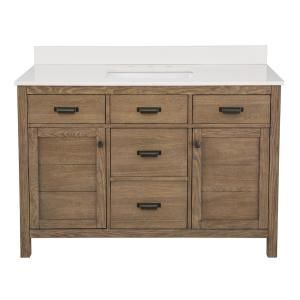 Home Decorators Collection Stanhope 49 In W X 22 In D Vanity In Reclaimed Oak With Engineered Stone Vanity Top In Crystal White With White Sink Snovt4922d T In 2021 White