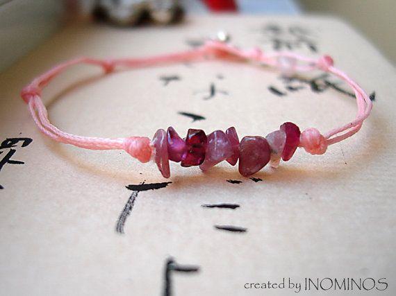 Pink Thread Bracelet Heart Chakra Gemstone Blacelet by INOMINOS