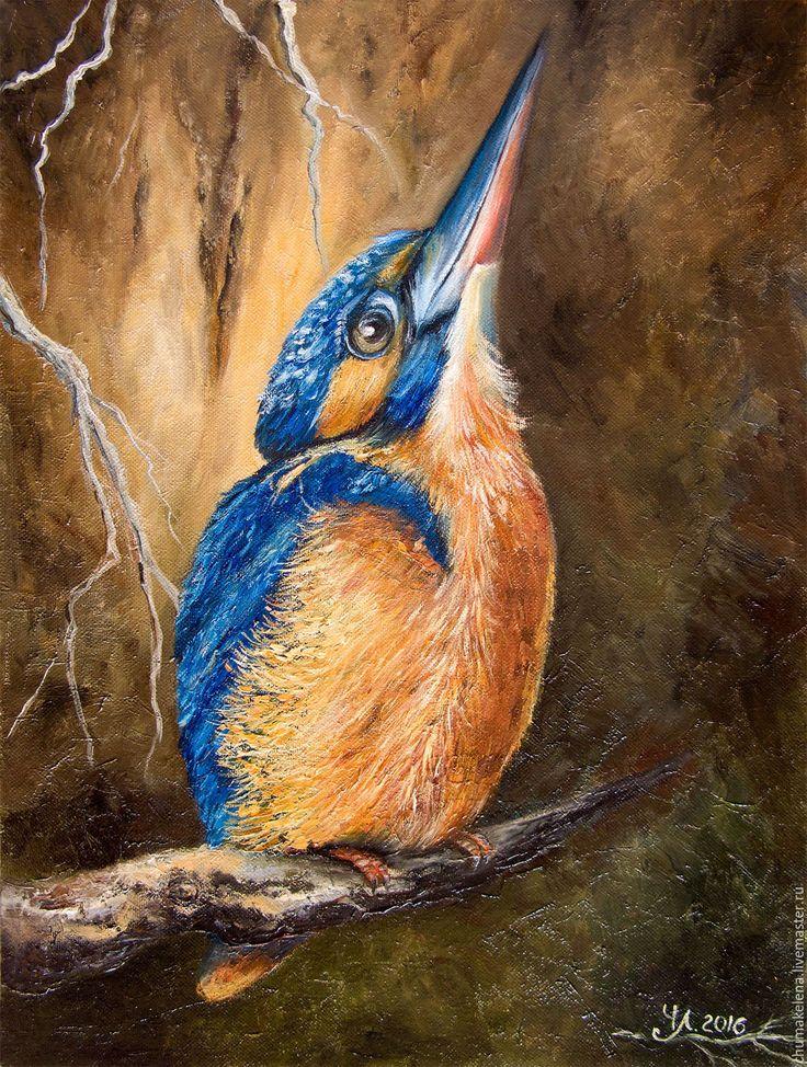 Купить «Зимородок – отважное сердце», картина маслом - медитация, картина в…