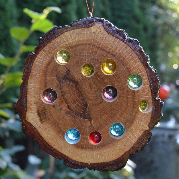 Garden decoration glass stone wood sun catcher 15 cm a unique piece by T #WoodW … #WoodWorking
