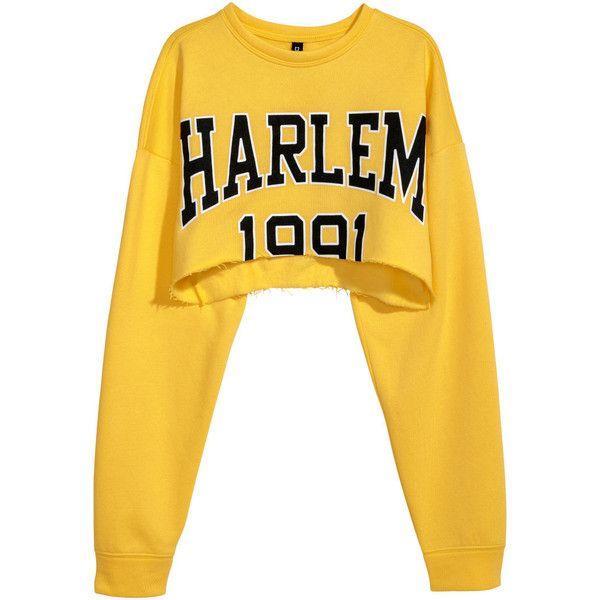 Short Sweatshirt $17.99 ($18) ❤ liked on Polyvore featuring tops, hoodies, sweatshirts, drop-shoulder tops, patterned tops, lightweight sweatshirts, print sweatshirt and yellow long sleeve top