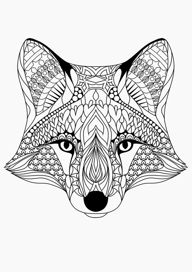 Fox face coloring page