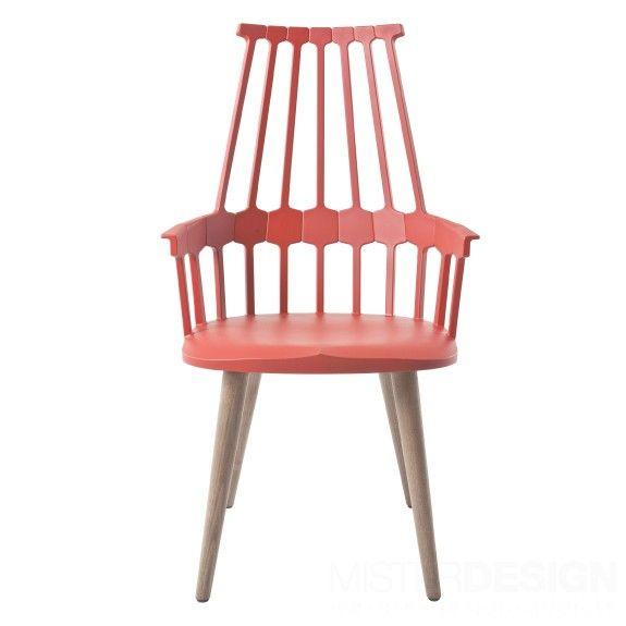 Comback Chair Stoel, Houten Onderstel - Kartell  Comback Chair Stoel, Houten Onderstel - Kartell