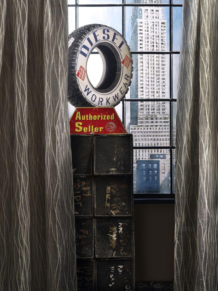 #andrewmartin #interiordesign #drappery #sheer #rustic #vintage #nyc #diesel