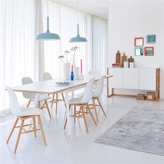 Style scandinave, un mariage de laqué blanc et bois clair pour la table de repas 6 couverts Jimi à associer aux autres meubles de la gamme Jimi vendus sur laredoute.fr