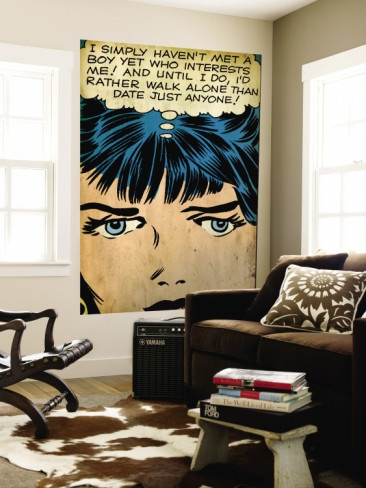 """Enlarge a comic frame to a size that fits your room, """"white out"""" the words in the bubble, and put in a class theme or an educational challenge or a proverb....."""