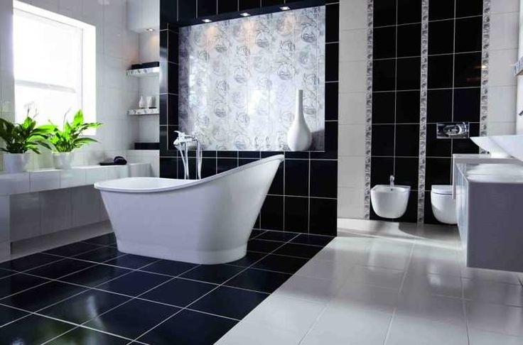 czarno-biała elegancka łazienka, idealna dla dużej rodziny #obipolska #łazienka #bathroom #wanna #remont