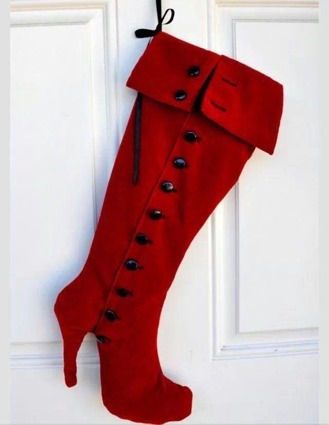 Red Christmas Stocking High Heel Fashion Boot Wall By Zorraindina