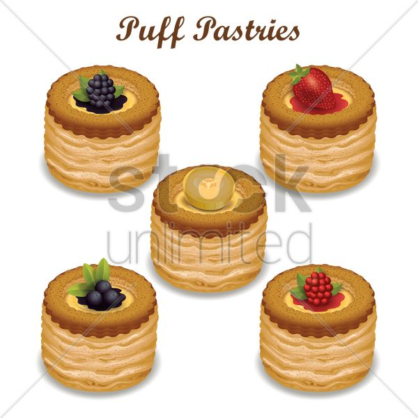 puff pastries vector graphic