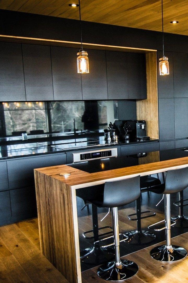 Modern Black Kitchen Cabinets With Wooden Island And Stools Modern Black Kitchen Modern Kitchen Cabinet Design Small Modern Kitchens