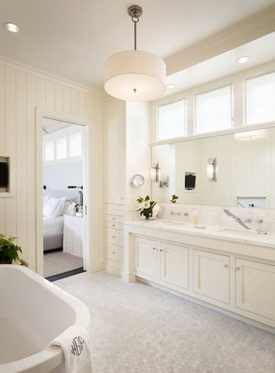 Sherwin Williams Alabaster-love the color; this layout is probably closest to my current bath too