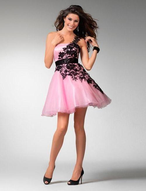 79c18e337 Elegantes Vestidos Color Rosa con Negro