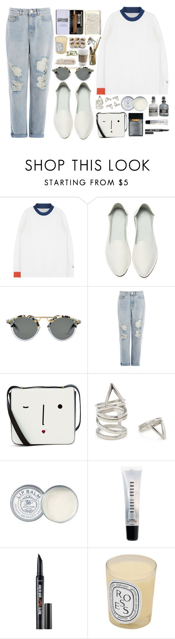 """""""College Kid"""" by finding-0riginality ❤ liked on Polyvore featuring Warehouse, Lulu Guinness, Forever 21, Jack Wills, Bobbi Brown Cosmetics, Benefit and Diptyque"""