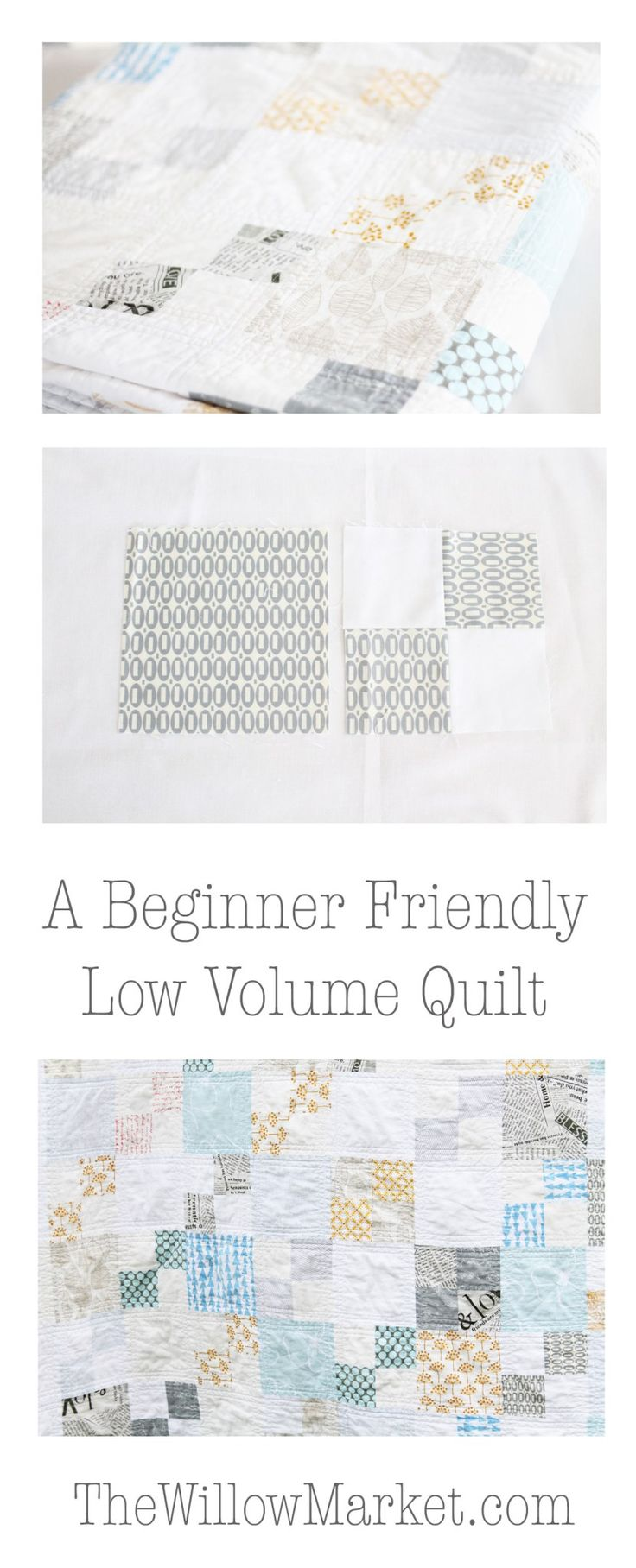 how to make a low volume quilt. beginner friendly. pez fabric. lotta jansdotter…