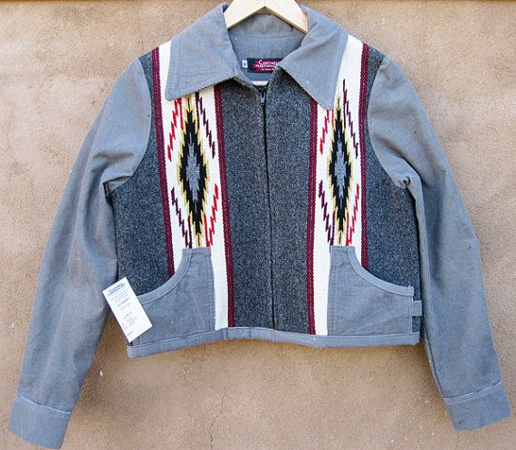 Corduroy Chimayo style jacket handwoven wool with by Centinela