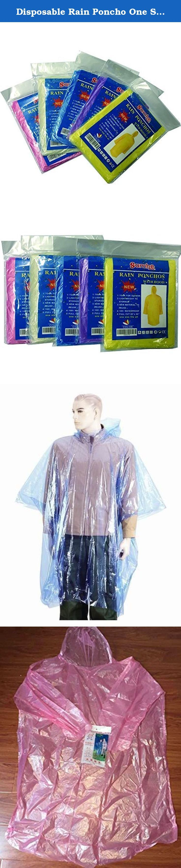 Disposable Rain Poncho One Size Fit All with Hood 10 Per Pack Random Color. separate packing ,Easy to use and easy to store Emergency Poncho, Emergency Rain Gear, Weather Protection One size fit all. It has an attached hood. Perfect for camping, day pack or emergency kit.