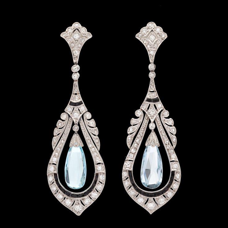 Art Deco Aquamarine And Shire Dangle Earrings