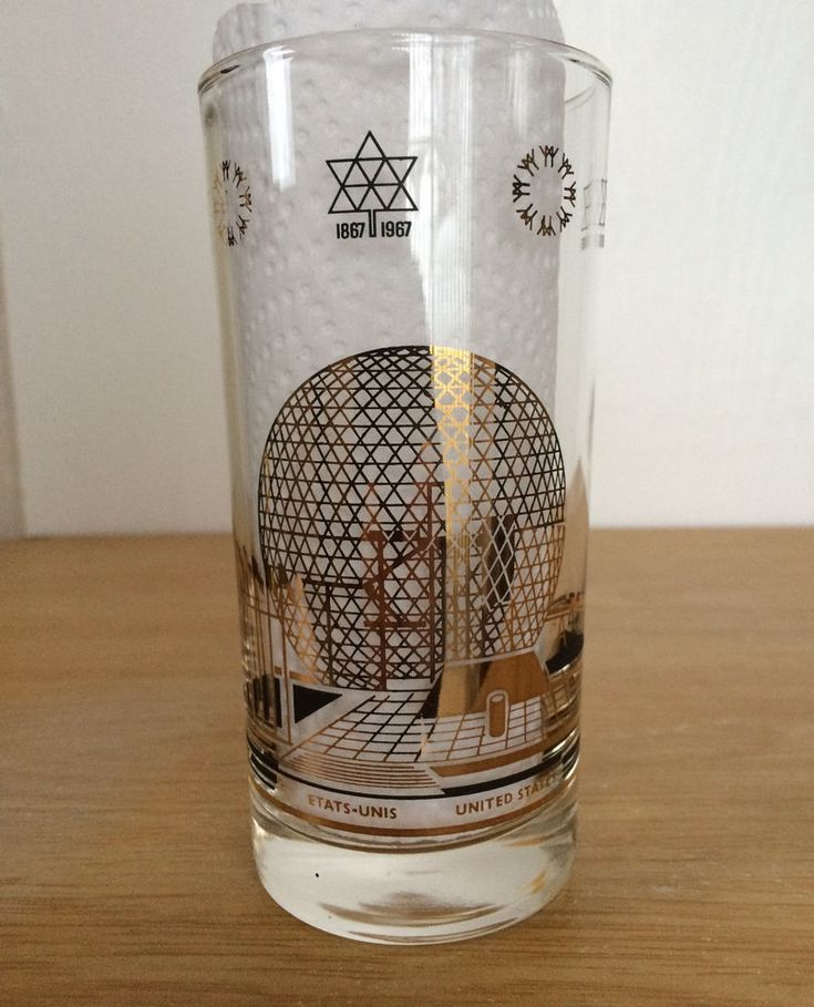 Expo 1967 Tall Beer Glass United States Pavilion Montreal Canada Collectible