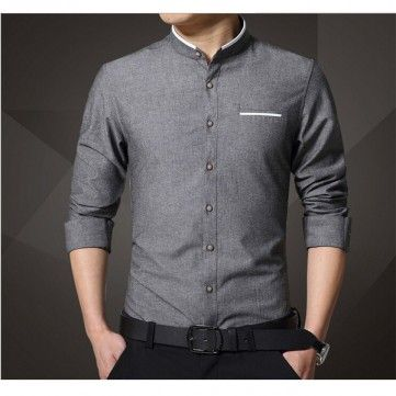 Men's Business Solid Color Stand Collar Cotton Casual Long Sleeve Pocket Dress Shirt