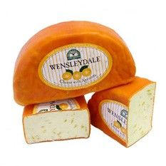 Wensleydale with Apricots  Hand-made traditional Wensleydale cheese is made from milk drawn from cows grazing the sweet limestone pastures on surrounding farms in Upper Wensleydale. This gives the cheese the unique flavor for which it is renowned.