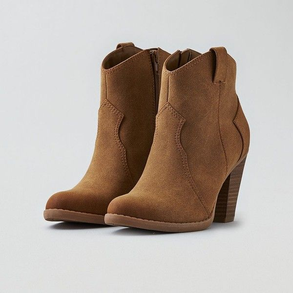 AE Heeled Western Bootie ($36) ❤ liked on Polyvore featuring shoes, boots, ankle booties, neutral, tan ankle booties, short boots, ankle cowgirl boots, high heel cowboy boots and western ankle boots