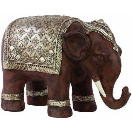 Urban Trends Collection: Resin Elephant Figurine, Matte Finish, Gray, Silver, Multicolor