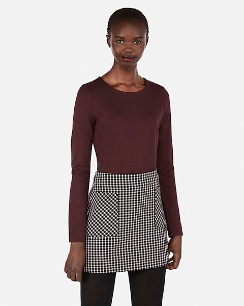 211290635 High Waisted Plaid Straight Mini Skirt | Express | Ellen's Apparel ...