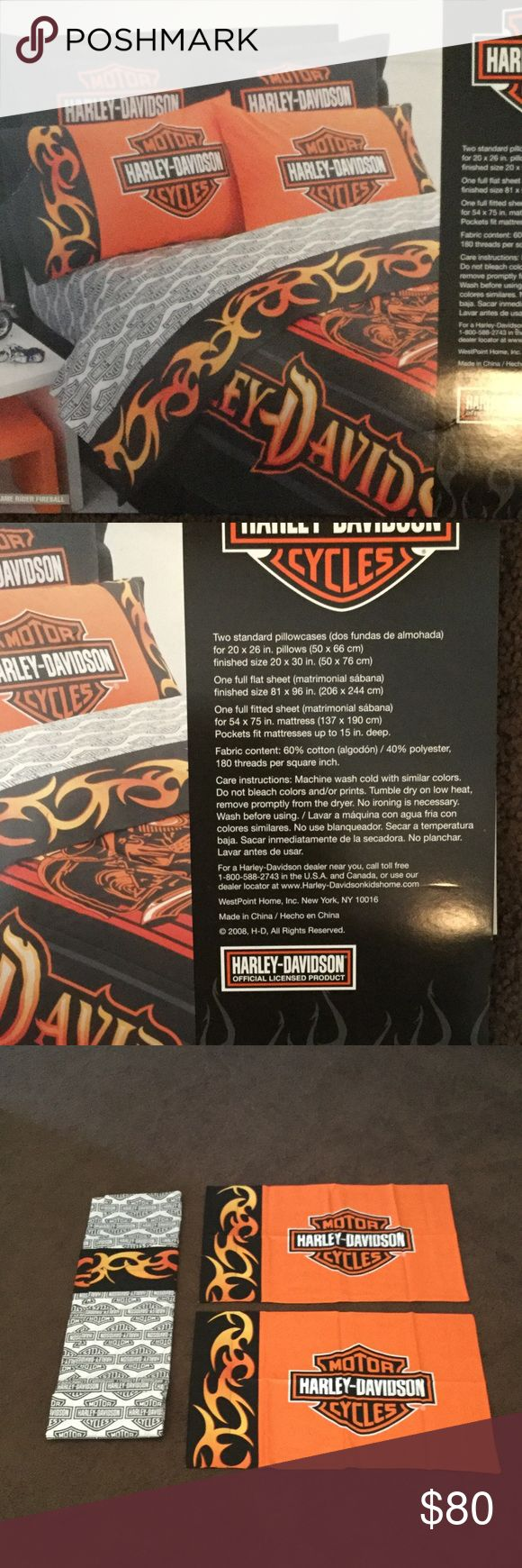 """Harley Davidson Full Sheet Set Brand new, without tags. Harley-Davidson Motorcycles full sheet set. Includes 2 pillow cases, fitted sheet, and flat sheet. See dimensions in the photo. 60% cotton, 40% polyester. 180 threads per square inch. Fitted sheet pockets fits mattresses up to 15"""" deep. Harley-Davidson Other"""