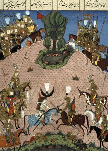 Some of Suleyman's knights, 16th century miniature from ms 1517 p 212, Conquests of Suleyman, Topkapi Palace Museum, Turkey