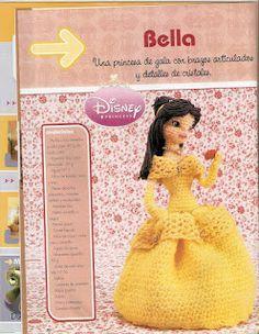 Muñeca Amigurumi Princesa Bella - Patrón Gratis en Español ( clic en las imágenes para ampliar el patrón)