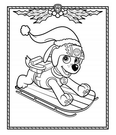 Get into the holiday spirit with this coloring page featuring Zuma from PAW Patrol!