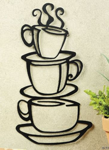 Metal Hanging Stacked Coffee Cup Kitchen Wall Decor