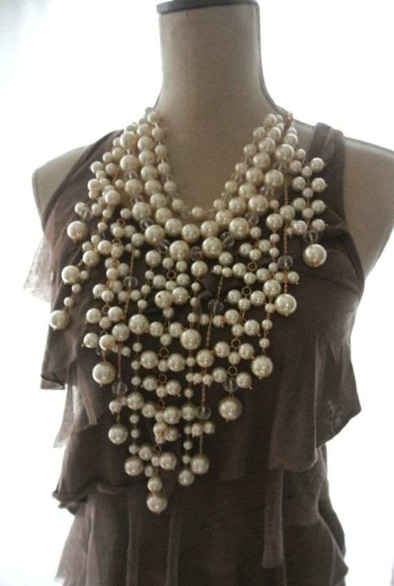 Collana di perle perle shabby romantici boho di TrueRebelClothing