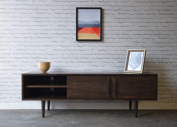 Kasse TV Stand - Solid Maple - Dark Walnut Stain