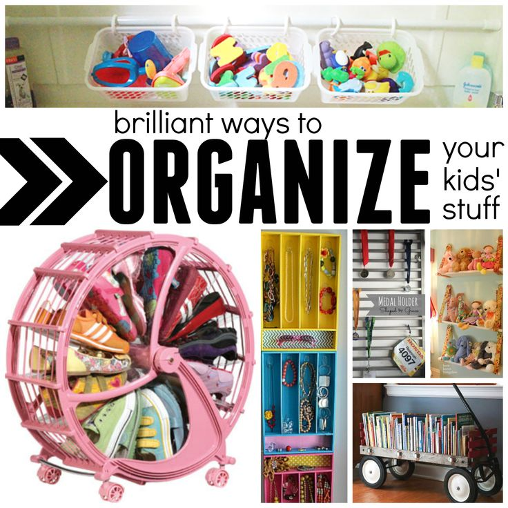 Check out these brilliant ways to organize your kids' stuff! Whether it is in the bedroom, bathroom, shared living areas, or on the go: we've got solutions!