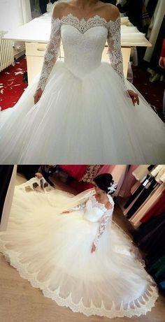 8f5423ec930 Elegant Off The Shoulder Wedding Dresses Ball Gowns Long Sleeves in ...