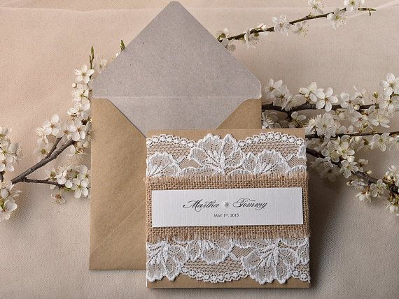 Recycling Paper Lace Wedding Invitation, Pocket Fold Rustic Wedding Invitation , Shabby Chic Wedding invitation, Burlap Wedding Invitation...