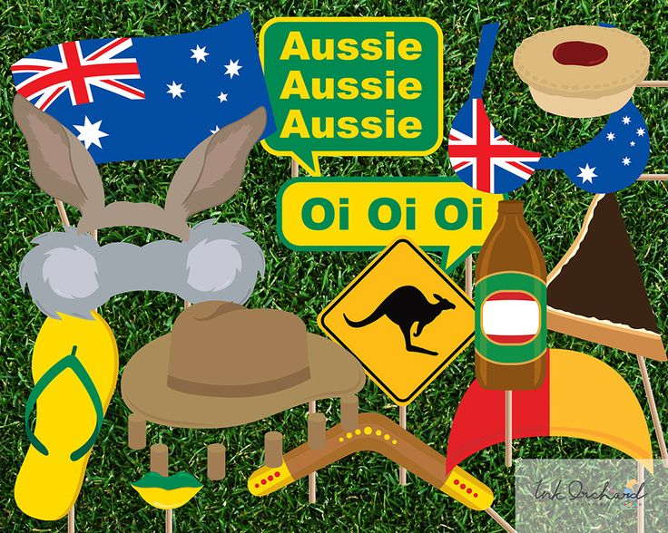 Australia Day Photo Booth Props instant download available from Etsy
