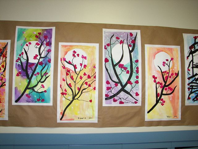 Cherry Blossoms 5th Grade. Love this for Sumi-e painting.