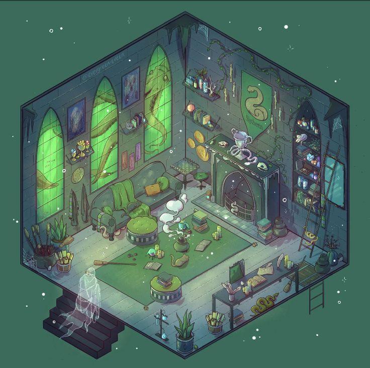 Slytherin Common Room Slytherin Casas De Hogwarts Hogwarts