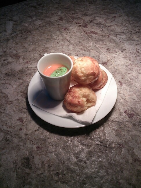 Cheese Gougeres with Gazpacho