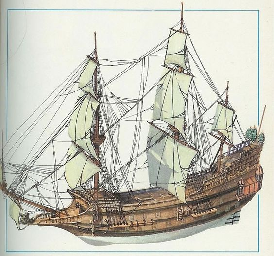 how to draw a galleon ship step by step