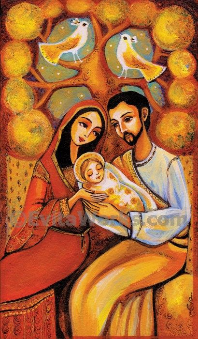 Nativity Holy Family Mary with Child Baby Jesus tree of life Religious painting Christian folk art, signed print, 6.5x11 9.5x16