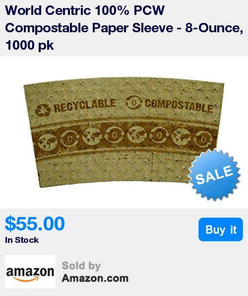 """Made from a mixture of synthetic and starch based plastics * Certified by Vincotte """"OK Compost Home"""" as suitable for composting in a backyard or garden * Compost in 2-4 months * World Centric 100% PCW Compostable Paper Sleeve - 8-ounce, 1000 pk * 80% Post Industrial Fiber * Best suited for 8-16 oz cups * Environmentally responsible alternative"""