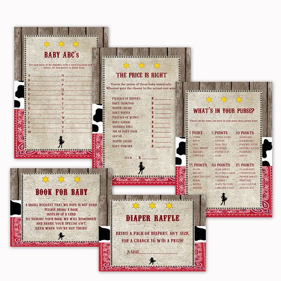 Cowgirl Baby Shower Printable Games 5 Pack Games Baby ABCs