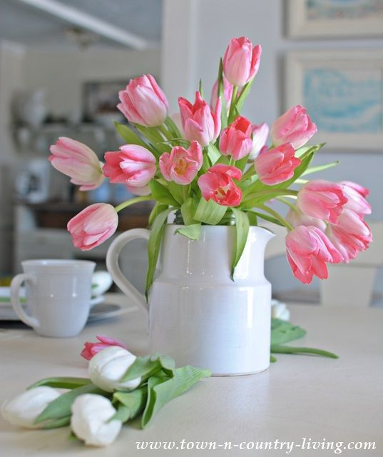 Easy tulip arrangement in white ironstone pitcher