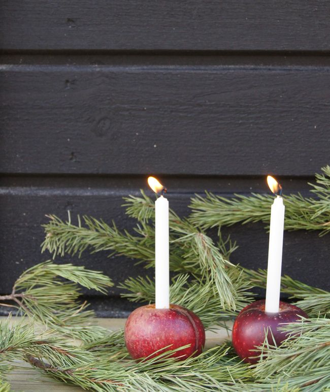 Make red apple candle holders for a truly Scandinavian Christmas | Mini Piccolini |