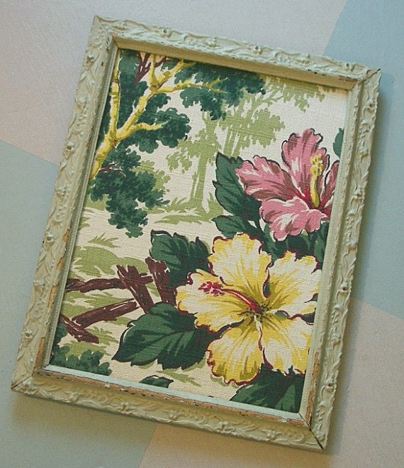Tack Board Made from 1940s Hibiscus Blossom Bark Cloth by tparty, $67.90