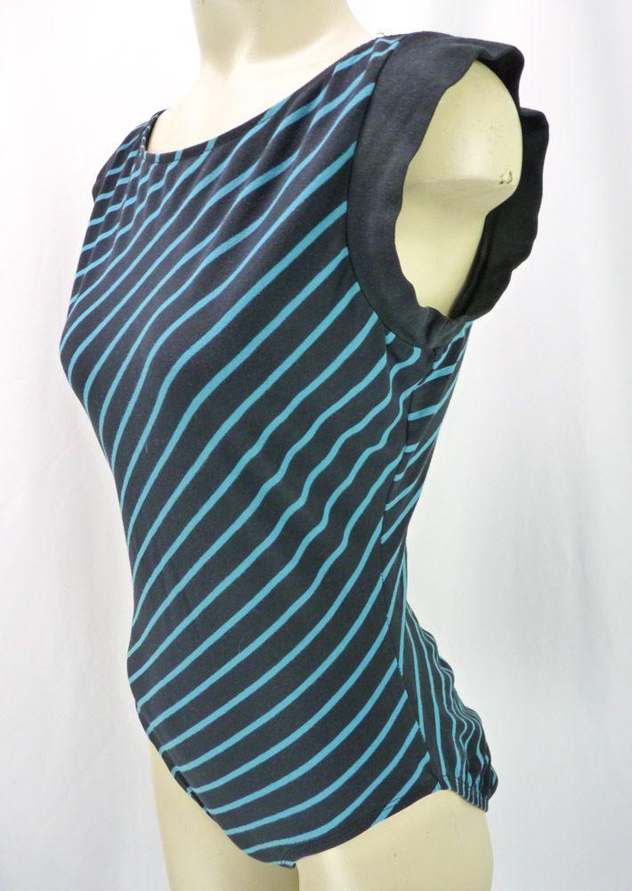 Vintage 80s Black + Teal Striped Cap Sleeve Leotard Gym Workout Bodysuit L #LesSteinhardt